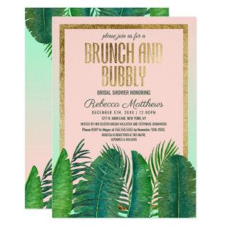 Tropical Palm Tree Banana Leaf Gold Brunch Bubbly Invitations