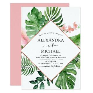 Tropical Palm Watercolor Geometric Wedding Invitation