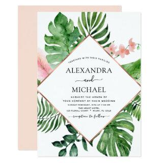 Tropical Palm Watercolor Geometric Wedding Invitations