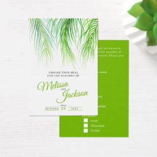 Tropical palm wedding meal choice small cards