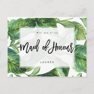 tropical palm will you be my maid of honor announcement postcard