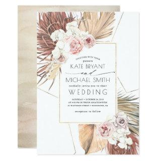 Tropical Palms Foliage Seaside Desert Wedding Invitations