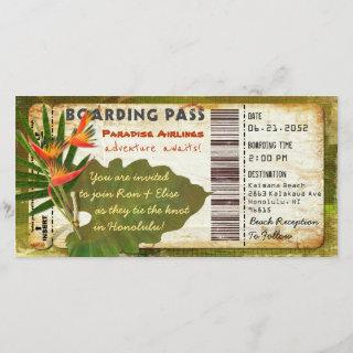 Tropical Paradise Boarding Pass Invitations