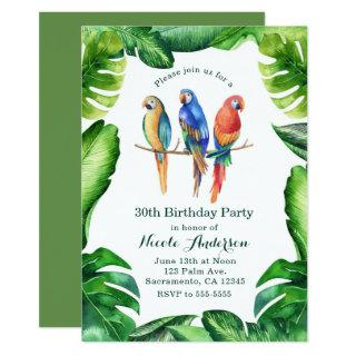 Tropical Parrots Birds & Leaves Party Invitatons Invitation