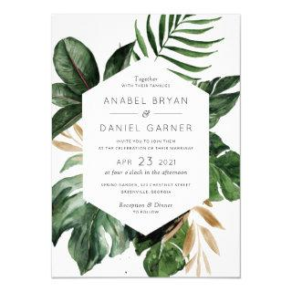 Tropical Philodendron Palm Leaves Modern Wedding Invitations