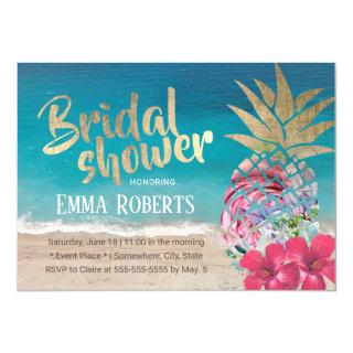 Tropical Pineapple Aloha Beach Bridal Shower Invitations