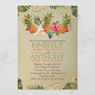 tropical pineapple beach lights engagement party Invitations