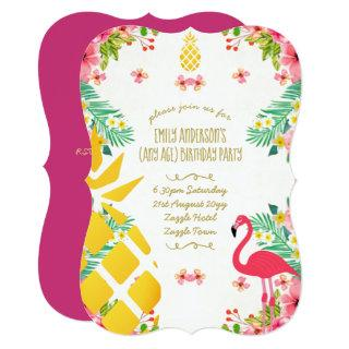 Tropical Pineapple Birthday Pink Flamingo ANY AGE Invitation