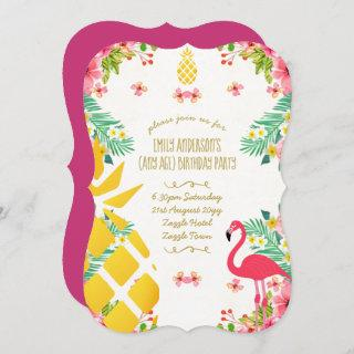 Tropical Pineapple Birthday Pink Flamingo ANY AGE Invitations