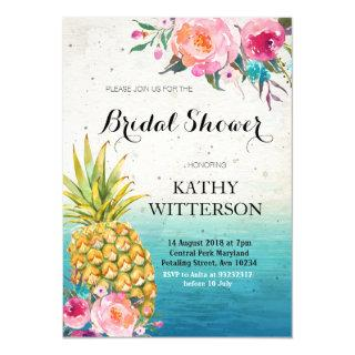 Tropical Pineapple Bridal Shower Invitations