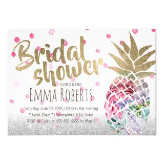 Tropical Pineapple Elegant Floral Bridal Shower Invitations