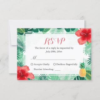 Tropical Pineapple Hibiscus Leaves RSVP Response