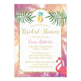 Tropical Pineapple & Palm Trees Bridal Shower Invitations