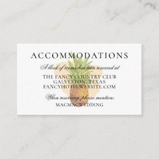 Tropical Pineapple Summer Wedding Accommodations Enclosure Card