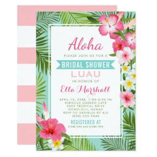 Tropical Pink Floral Wedding Bridal Shower Luau Invitations