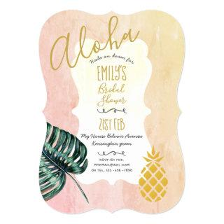 Tropical Pink Gold Bridal Shower Invitations Aloha