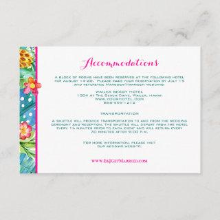 Tropical Pink Teal Floral Chevron Accommodations Enclosure Card