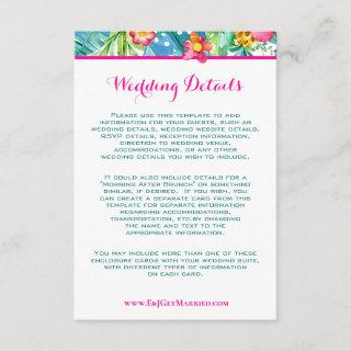 Tropical Pink Teal Floral Chevron Wedding Details Enclosure Card