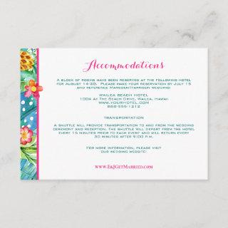 Tropical Pink Teal Floral Ombre Accommodations Enclosure Card