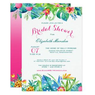 Tropical Pink Teal Floral Ombre Bridal Shower Invitations