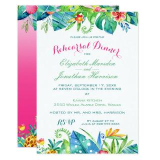Tropical Pink Teal Floral Ombre Rehearsal Dinner Invitations