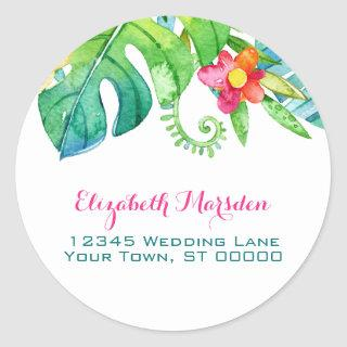 Tropical Pink Teal Floral Return Address Classic Round Sticker