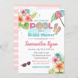 Tropical Poolside Summer Bridal Shower Invitations