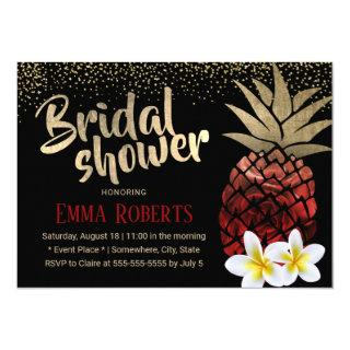 Tropical Red & Gold Pineapple Beach Bridal Shower Invitation