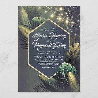 Tropical Seaside Night and Gold Palms Wedding Invitations
