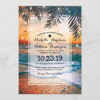 Tropical Sunset Beach Twinkle Lights Wedding Invitation