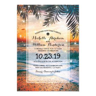 Tropical Sunset Beach Twinkle Lights Wedding Invitations