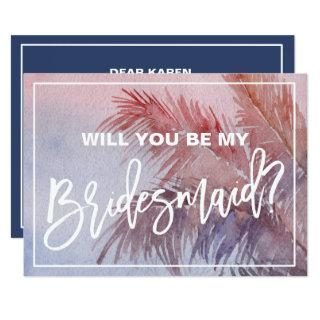Tropical Sunset Will You Be My Bridesmaid Invitations
