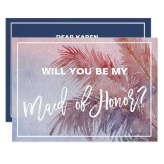 Tropical Sunset Will You Be My Maid of Honor Invitation