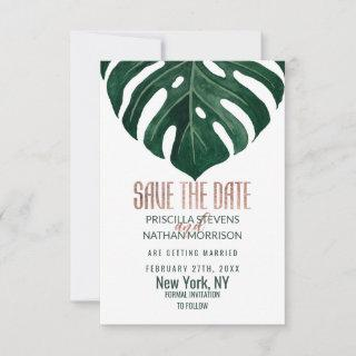 Tropical Swiss Cheese Leaf Rose Gold Wedding Save The Date