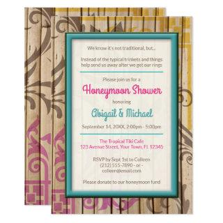 Tropical Tiki Wood Honeymoon Shower Invitations
