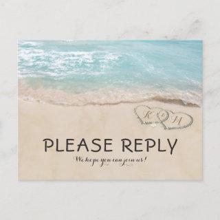 Tropical Vintage Beach Heart Shore Wedding RSVP Invitations Postcard