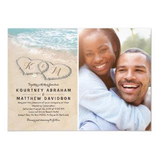 Tropical Vintage Beach Heart Wedding Photo Invitations