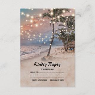 Tropical Vintage Beach Lights Wedding RSVP