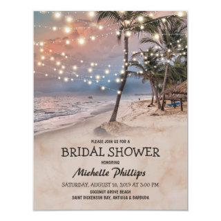Tropical Vintage Beach String Lights Bridal Shower Invitations