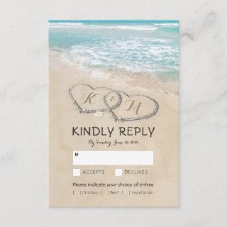 Tropical Vintage Beach Wedding RSVP Entree Choices