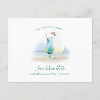 Tropical Watercolor Cocktail Save the Date Holiday Postcard