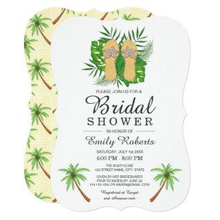 Tropical Watercolor Flip Flops Bridal Shower Invitations