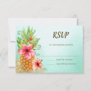 Tropical Watercolor Floral Pineapple Wedding RSVP Card
