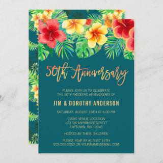 Tropical Watercolor Flower 50th Anniversary Invite