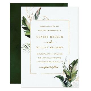 Tropical Watercolor Foliage Gold Frame Wedding Invitations
