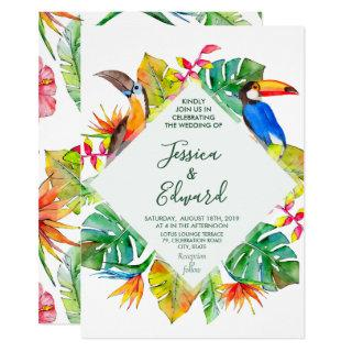 Tropical Watercolor Hawaii Exotic Birds Invitation
