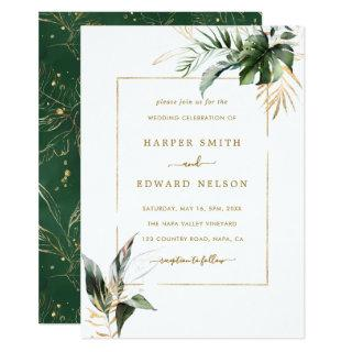 Tropical Watercolor Leaves Gold Frame Wedding Invitations