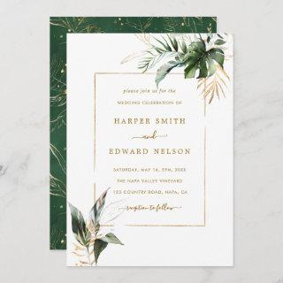 Tropical Watercolor Leaves Gold Frame Wedding