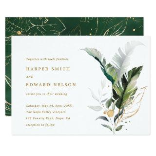 Tropical Watercolor Leaves Gold Wedding Invitation