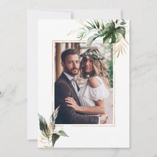 Tropical Watercolor Leaves Gold Wedding Photo